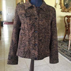 Great Tiger Jean Jacket Black Brown Animal Print.